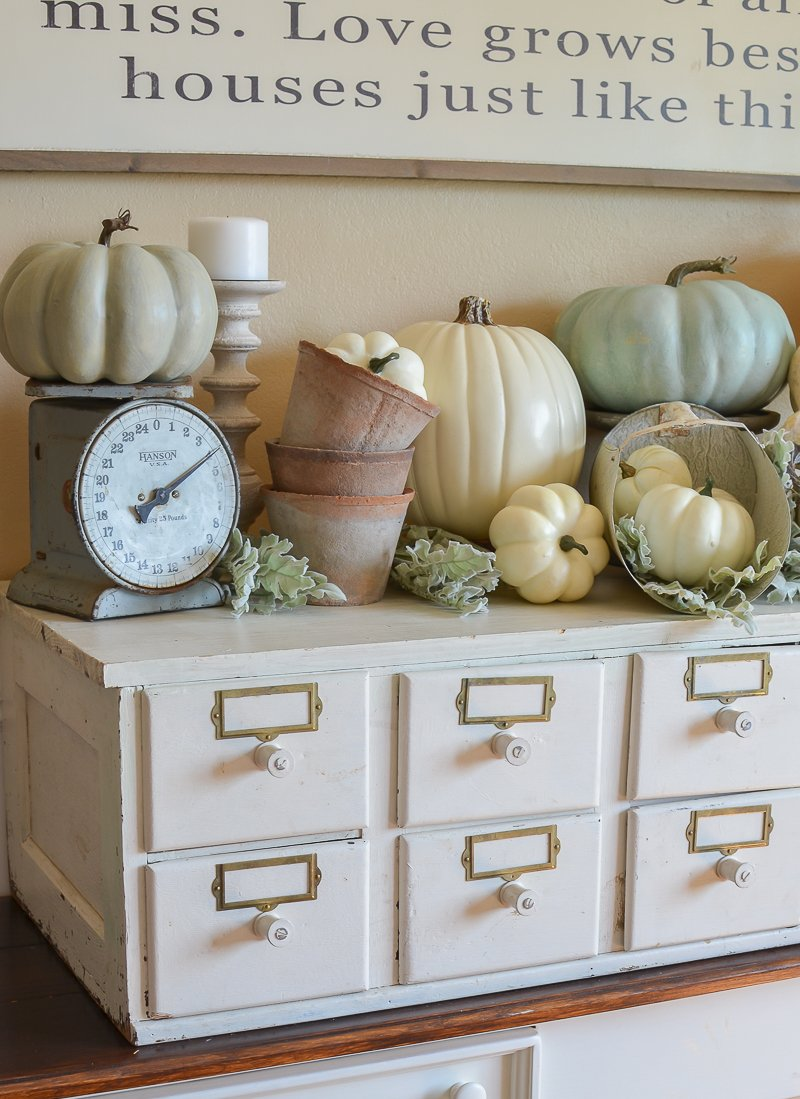 Vintage Card Catalog Decorated for Fall