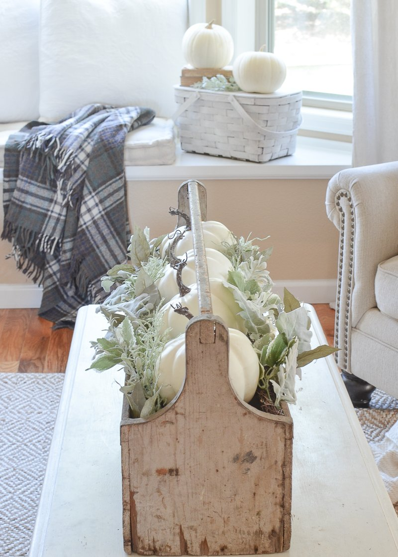 Vintage toolbox and farmhouse style fall decor in the front room