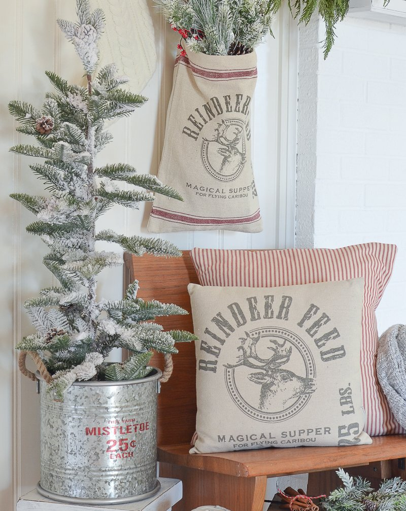 Rustic farmhouse style Christmas decor in the entryway