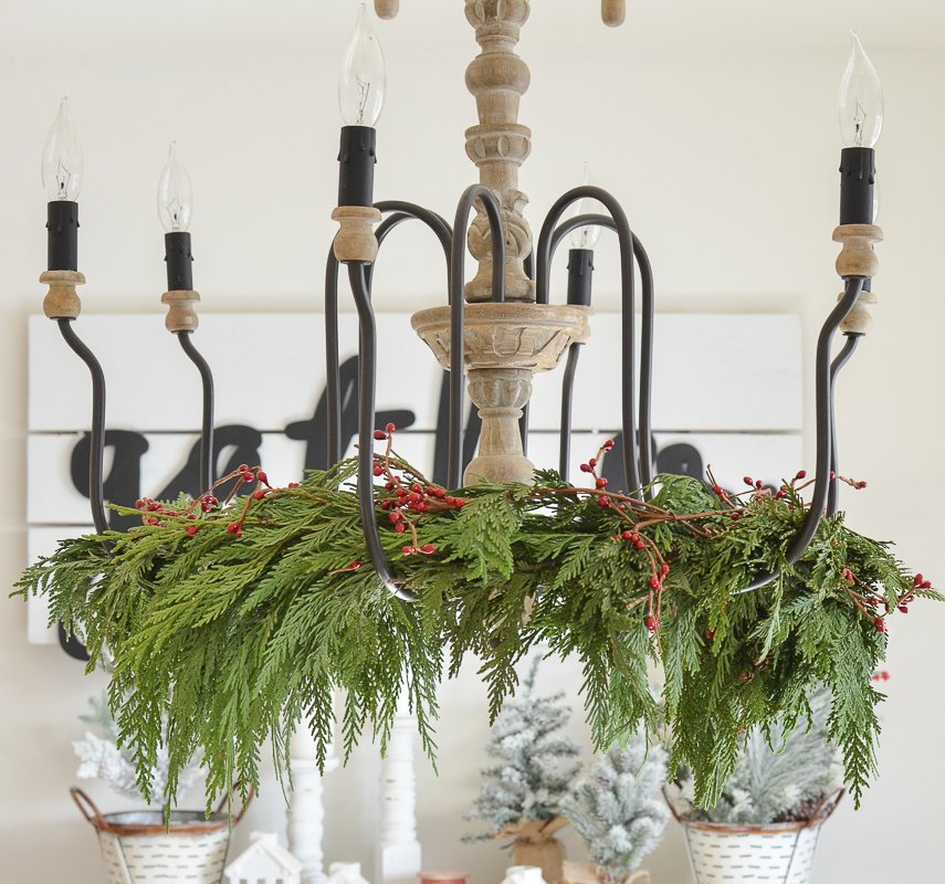 how to decorate a chandelier for christmas
