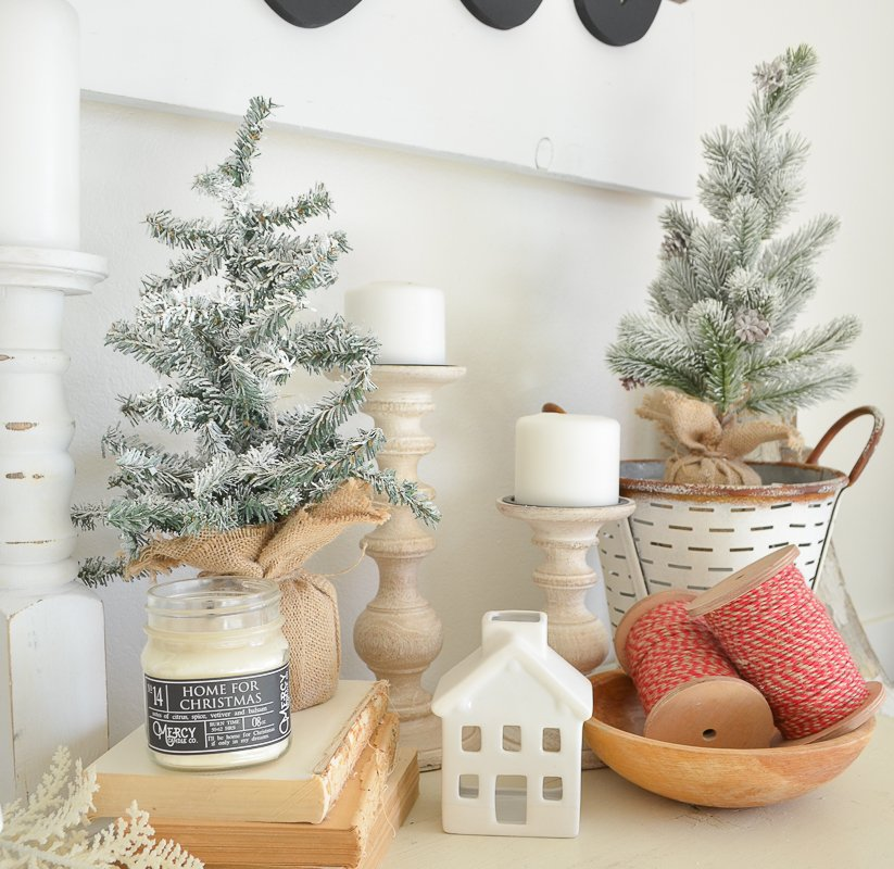 DIY Flocked Mini Christmas Trees. Review of snow in a can.
