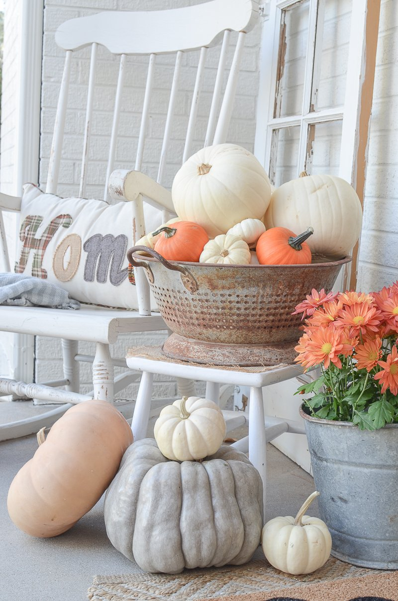 fall decor on the front porch