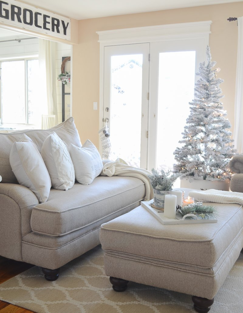Cozy farmhouse style living room Christmas decor.