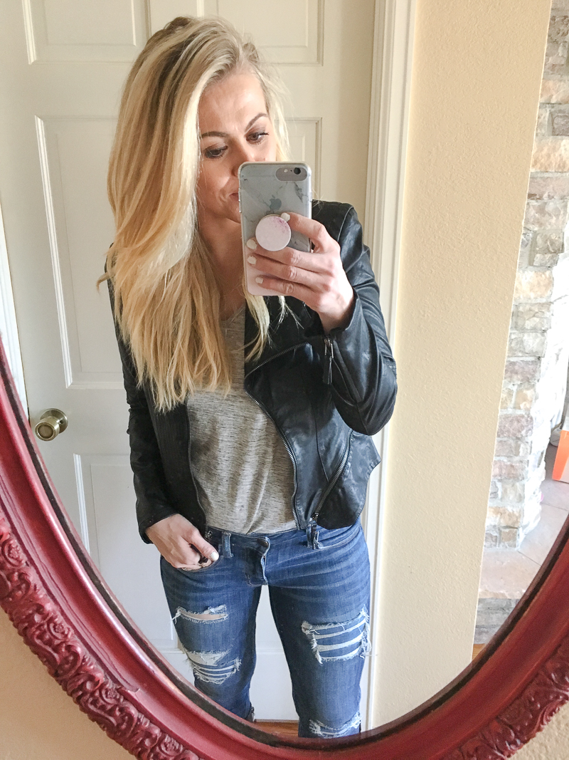 Great black leather jacket for winter