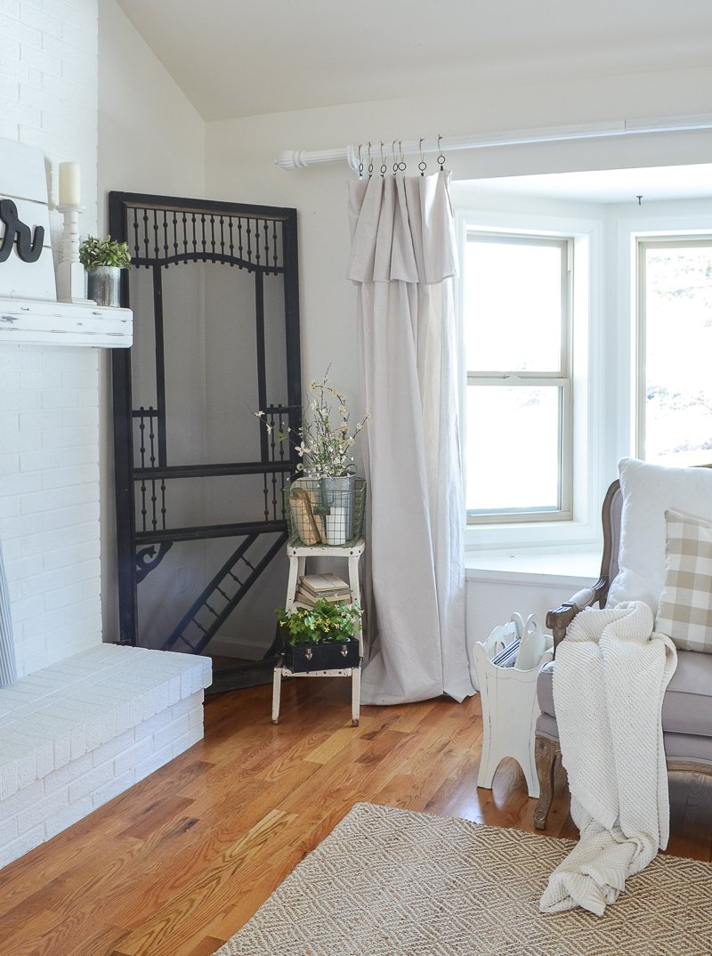 farmhouse style living room decor and old door