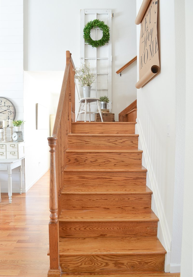Farmhouse style staircase and old french door