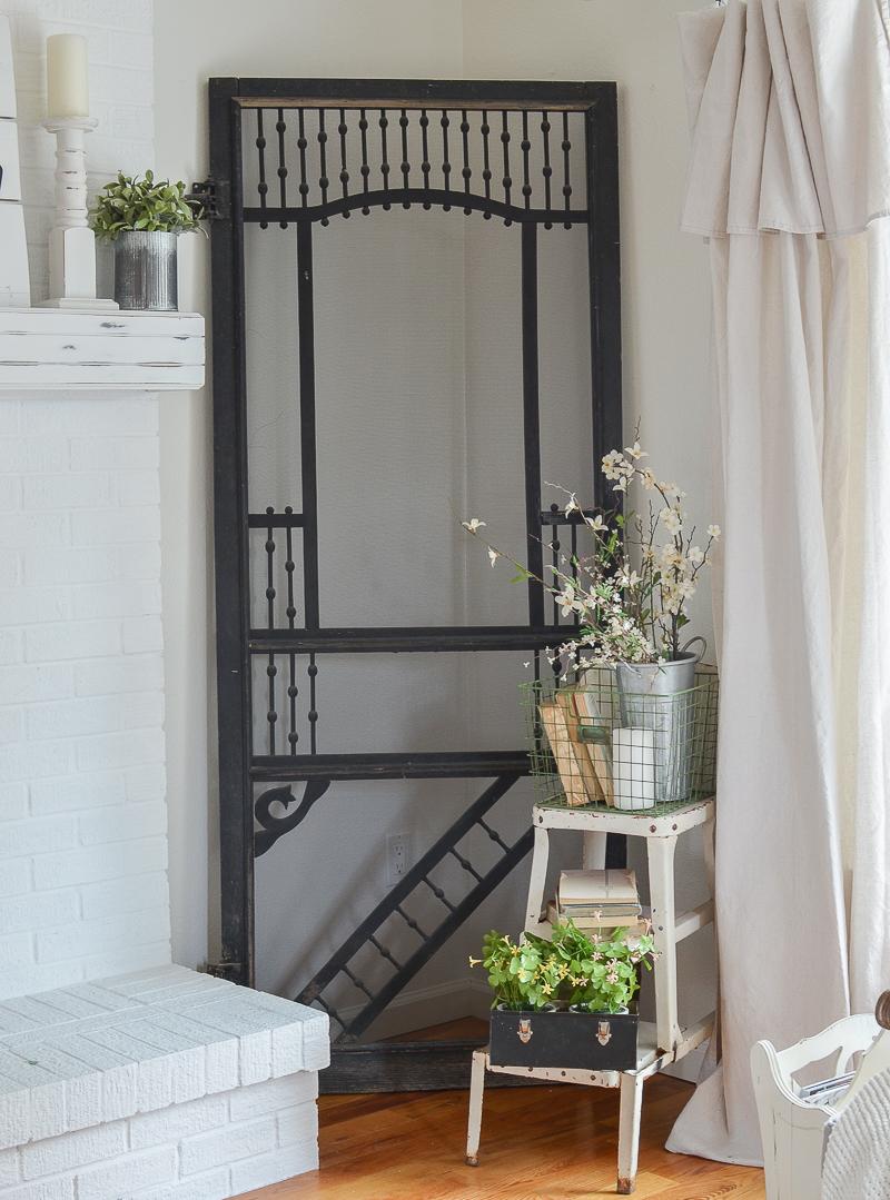 farmhouse style old door. Beautiful vintage black door!