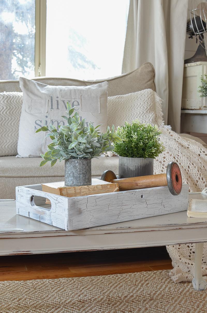 farmhouse style decor with vintage wooden spool