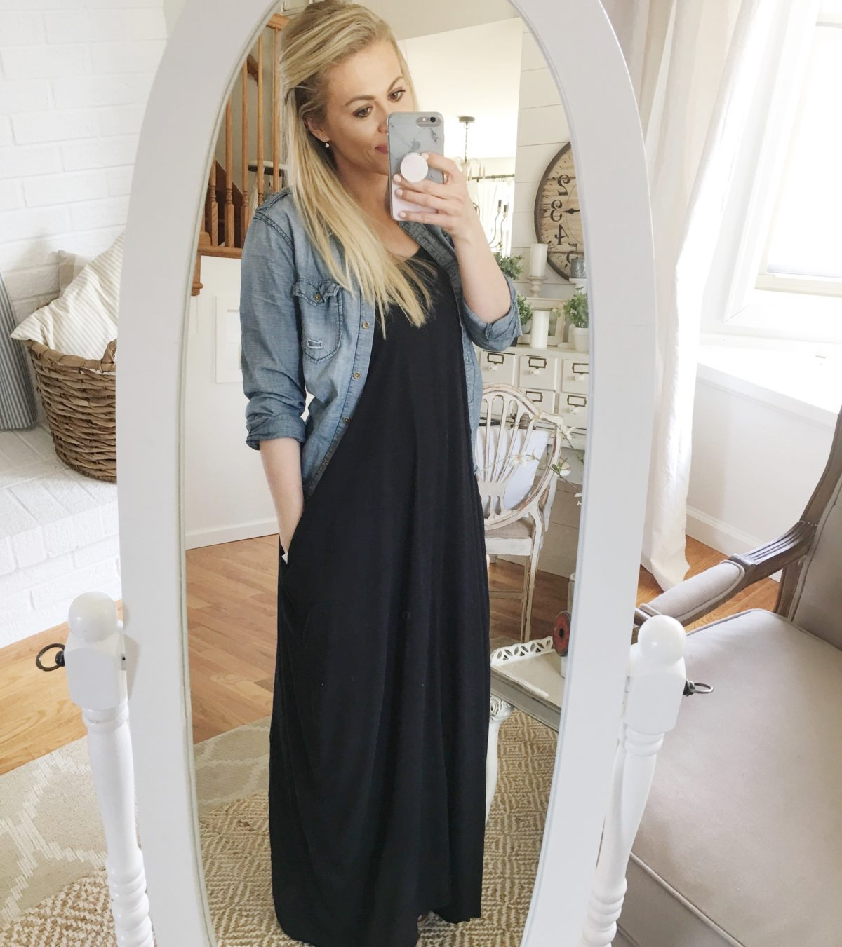 Cute maxi dress and denim utility shirt. Great outfit for spring and summer!