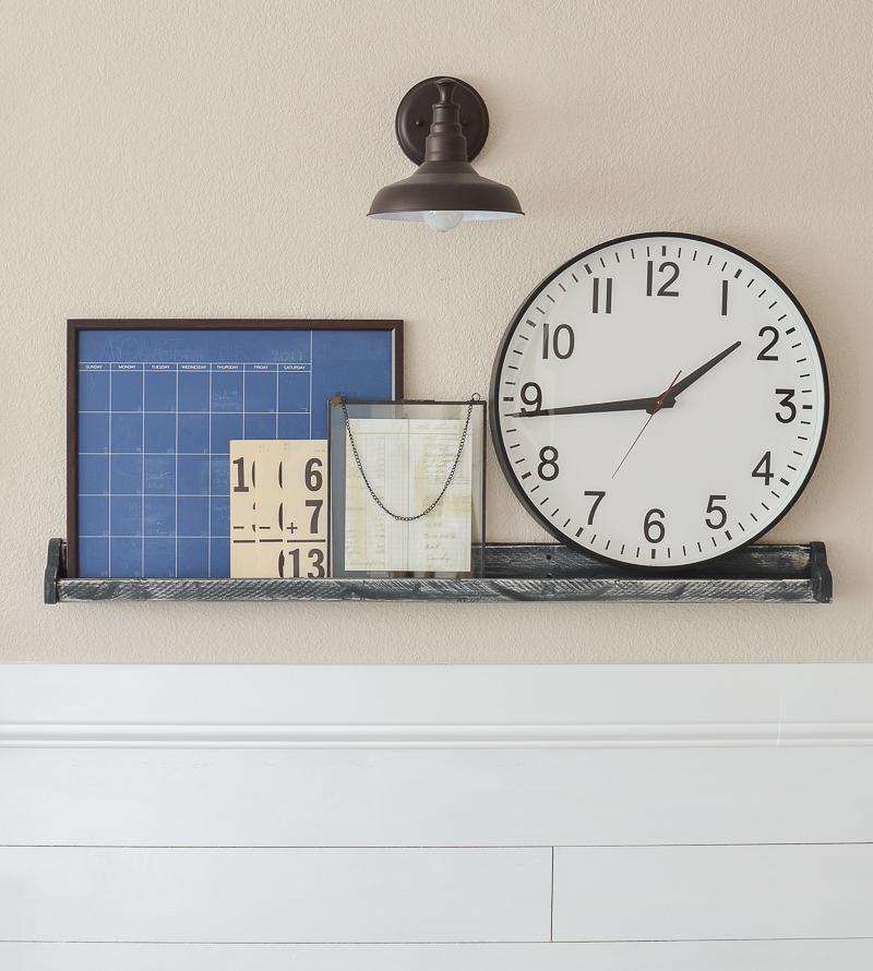 Simple farmhouse style shelf decor