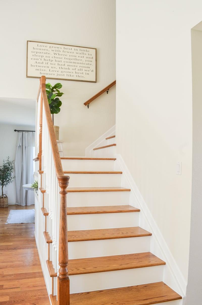 Farmhouse style staircase makeover