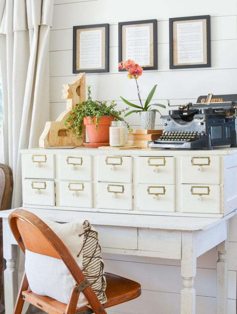 Farmhouse style decor and vintage desk