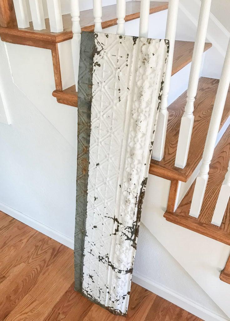 DIY Coat Rack With Vintage Tin. Easy farmhouse style DIY project!