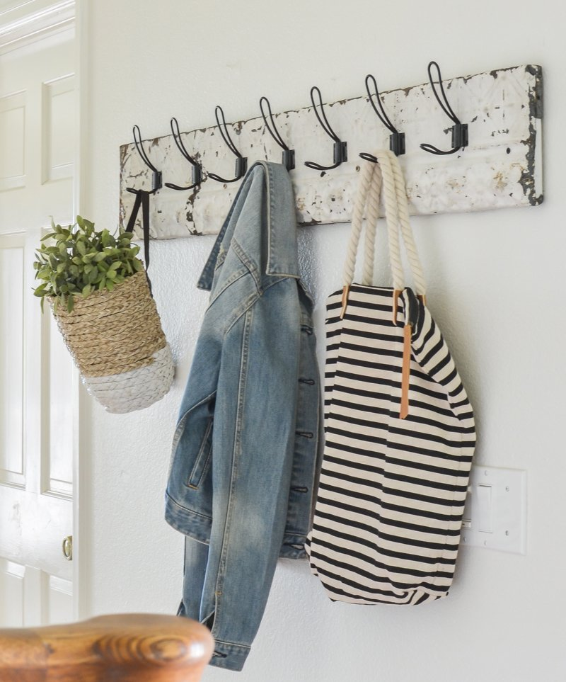 DIY Coat Rack With Vintage Tin. Easy farmhouse style DIY project!