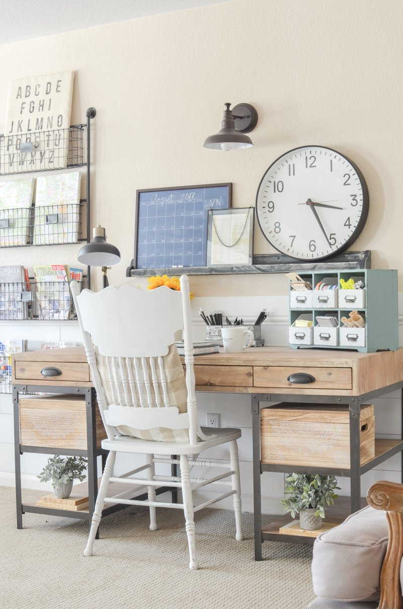 An Organized Desk for Fall. Farmhouse style home office space inspiration.