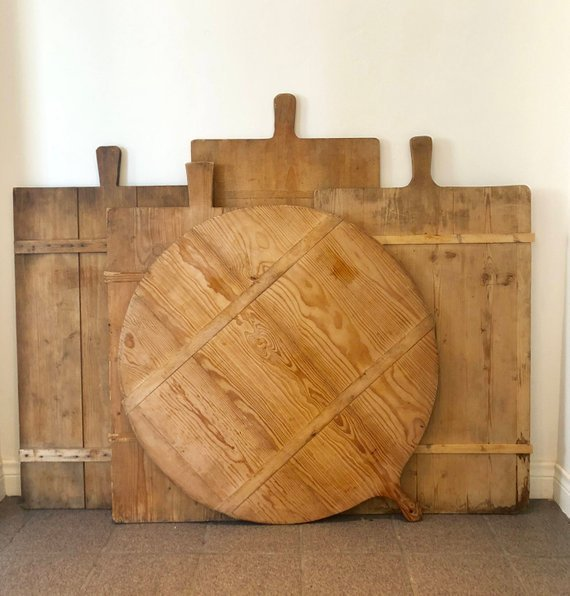 Vintage french bread board. Amazing farmhouse style kitchen decor.