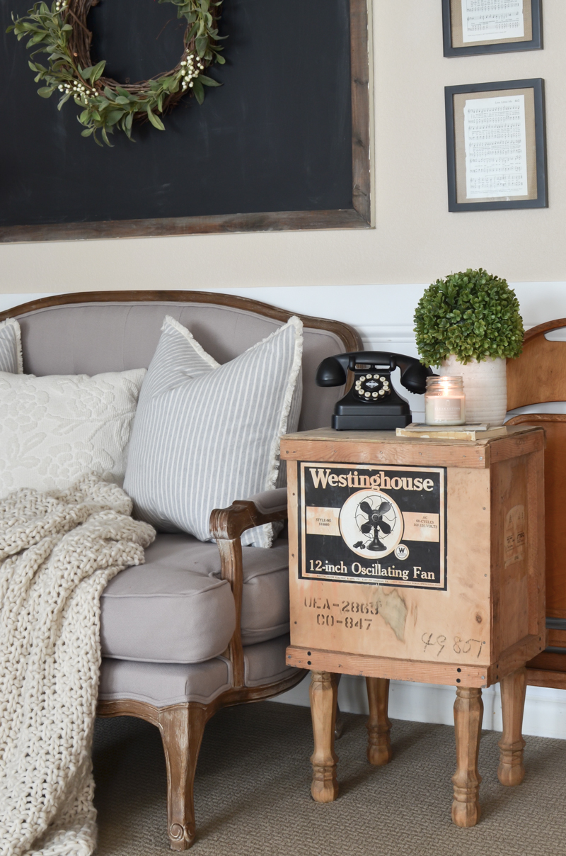A Cozy Corner in the Basement. Farmhouse style living room decor ideas. #livingroomdecor #farmhousestyle