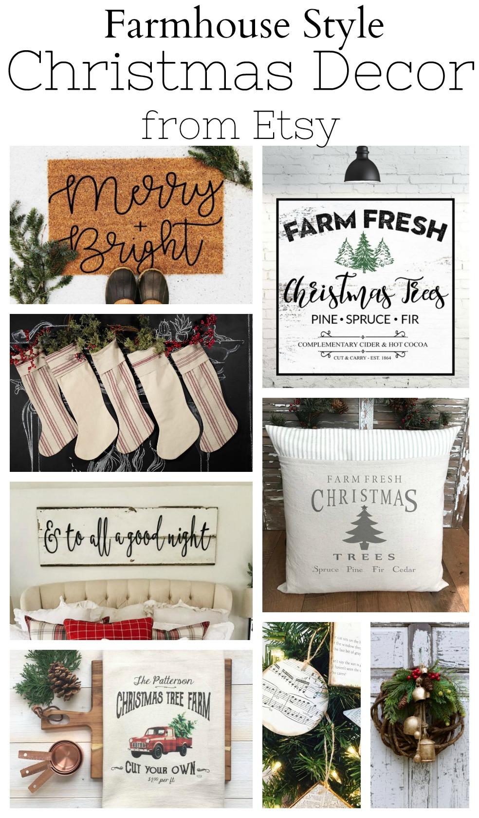 Farmhouse Style Christmas Decor From Etsy
