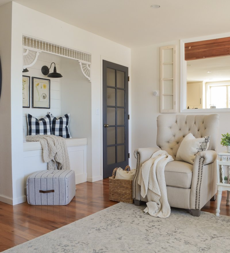 Farmhouse style living room. Fixer upper style with neutrals and vintage decor.