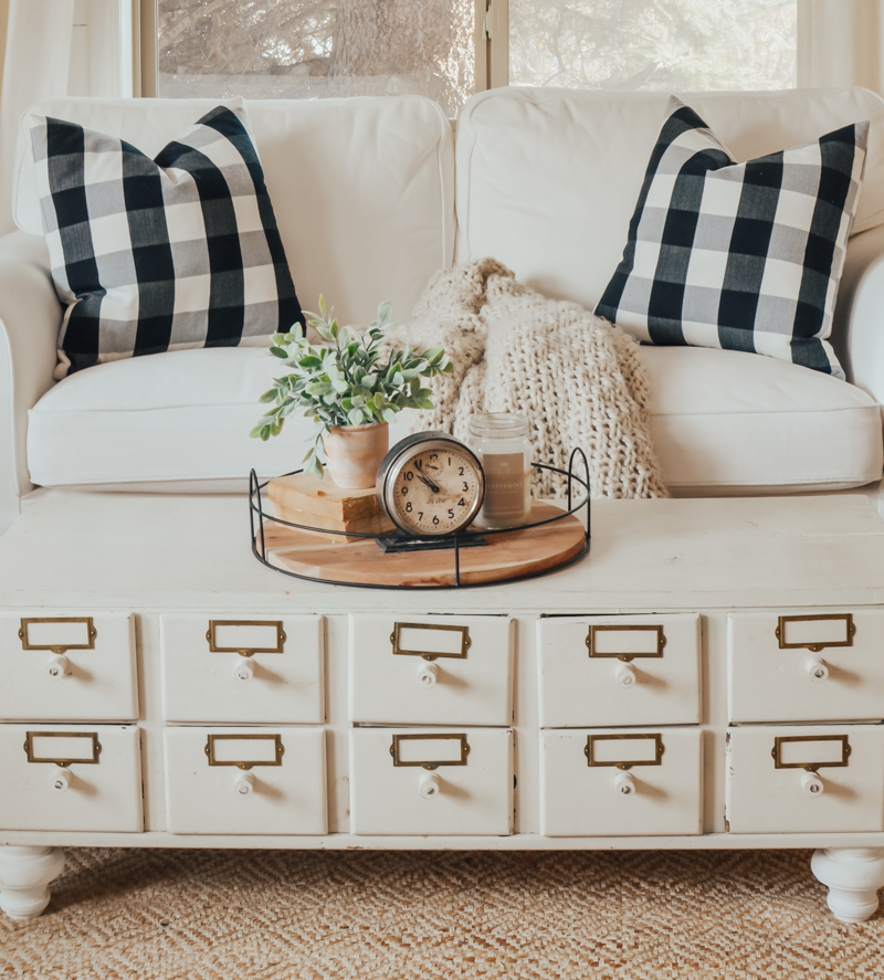 DIY Vintage Card Catalog Coffee Table. Beautiful farmhouse style living room.
