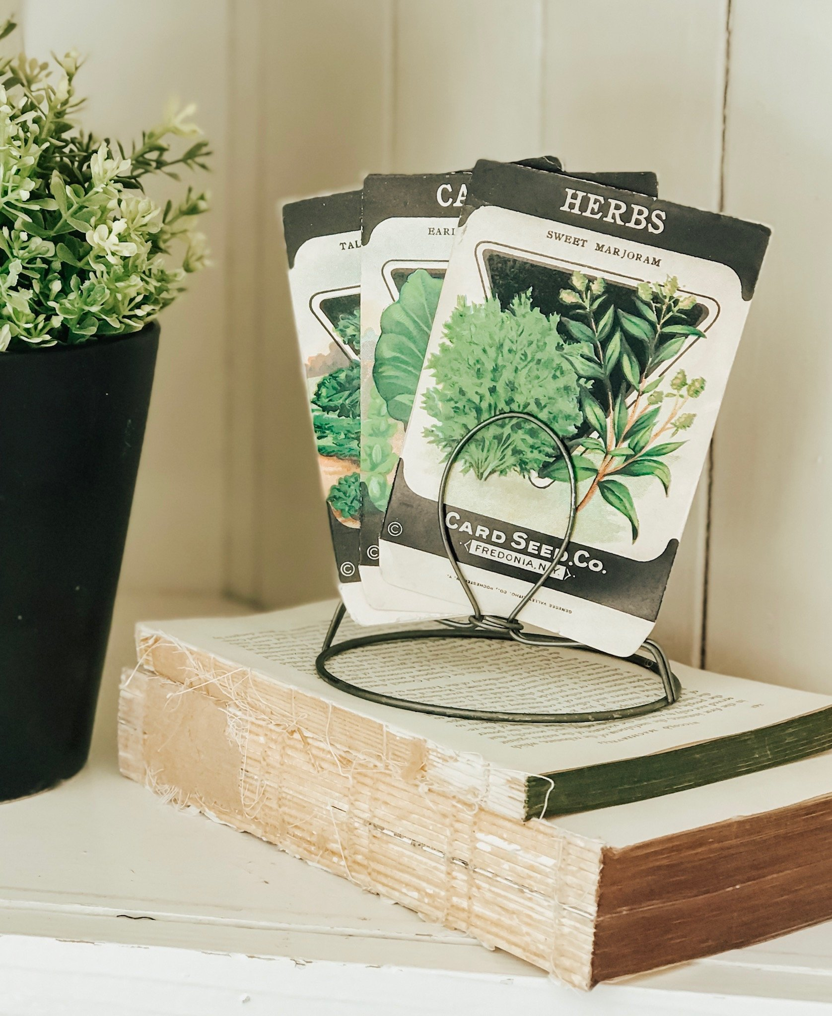 Farmhouse style decor. Vintage seed packets.