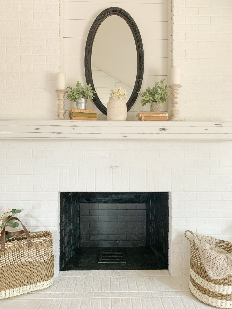 How to Paint The Inside of a Fireplace Black. Easy to follow tutorial to paint a fireplace box.
