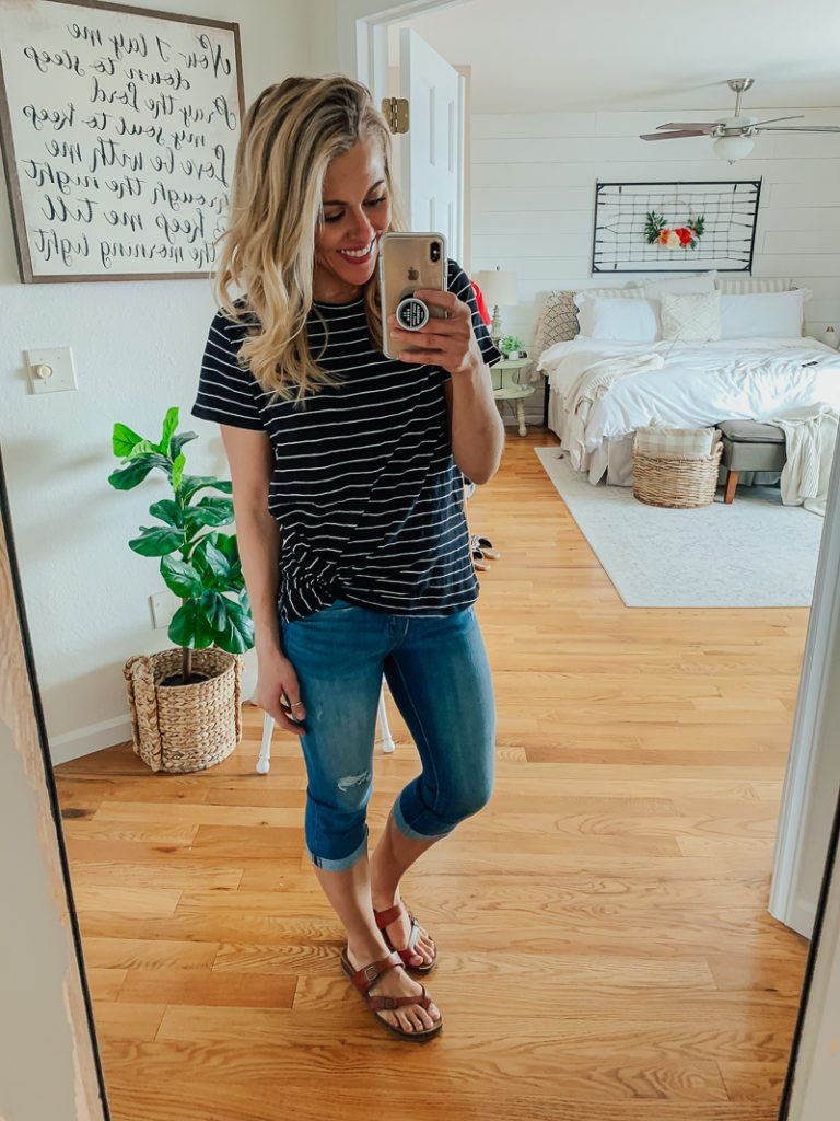 b5c6b12749 Next is a basic tee with a cute little twist tie in the front. This tee is  longer than most, so if you're looking for some extra tush coverage this  would be ...