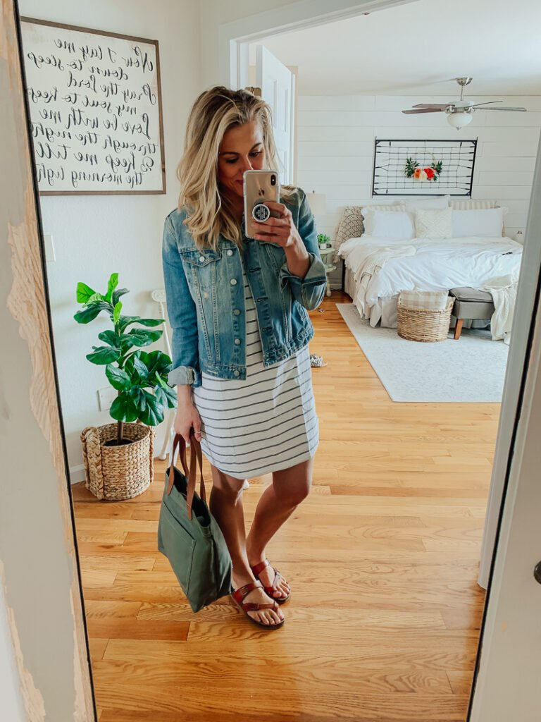 90cc2df3761 I paired this dress with a comfortable pair of slip on sandals, which are  also from Walmart. I am honestly so impressed with these sandals—they are  very ...