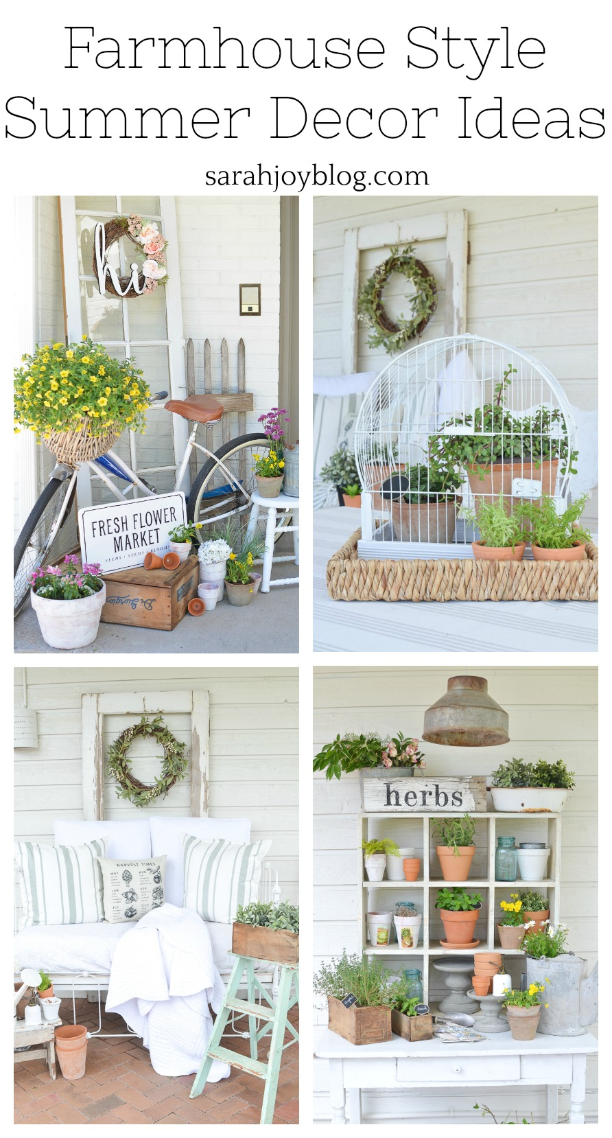 Farmhouse Style Summer Decor Ideas. Simple summer decor ideas for outdoor decor, front porch decor and more.