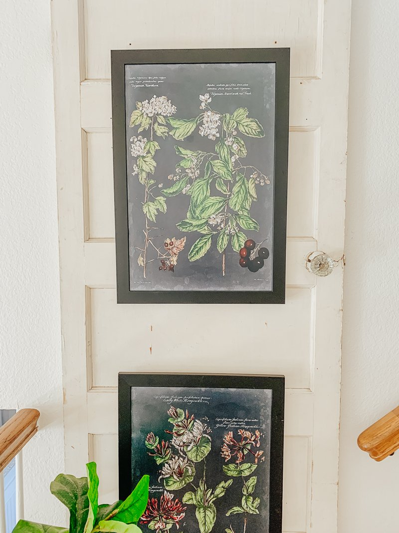 A Vintage Door + Botanical Art on the Stairs. Easy and beautiful farmhouse style decor idea with an old door.