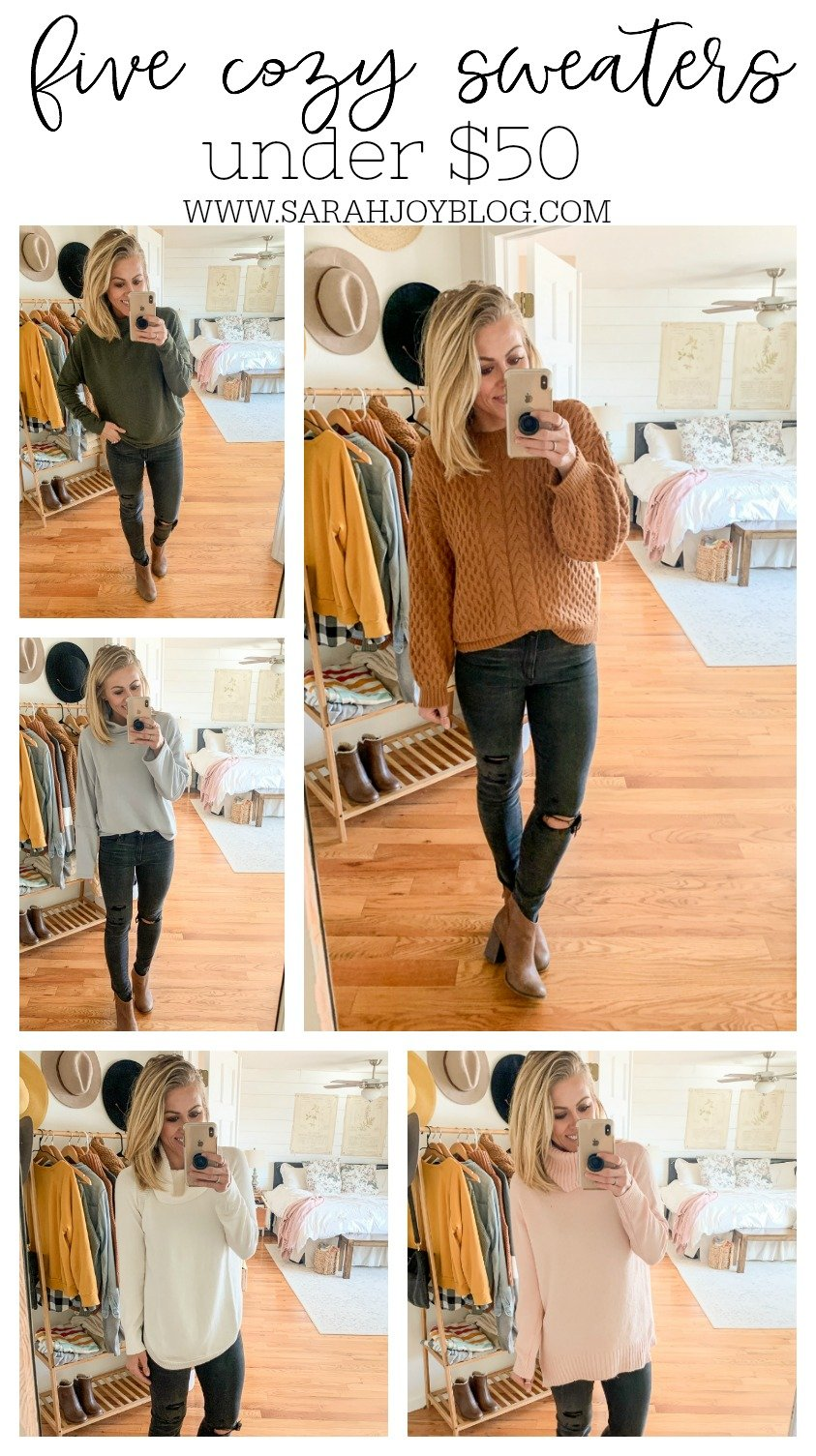 Five Sweaters Under $50. Cozy winter outfit ideas.