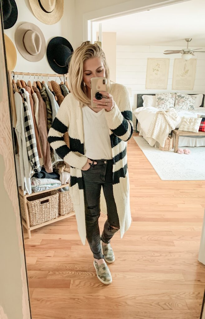 Amazon Favorites from 2019. My Top 10 Amazon Finds in 2019. Cute cardigan and black jeans outfit inso.