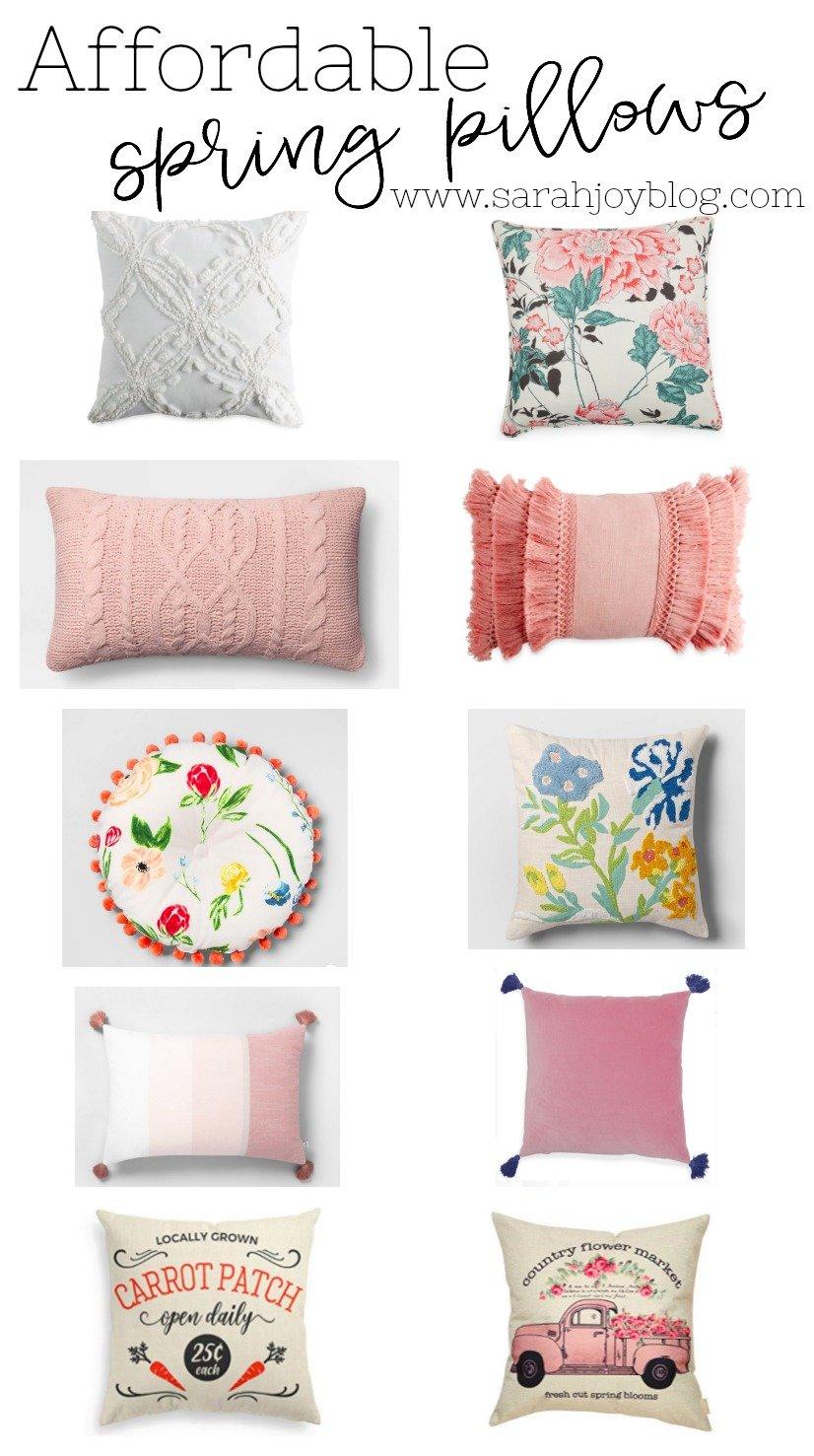 Affordable spring pillows. Spring home decor ideas!