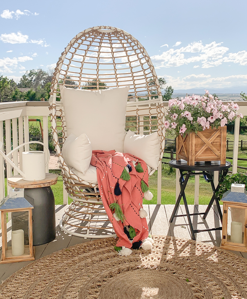 Boho Style Patio with Egg Chair. Cute outdoor summer decor!