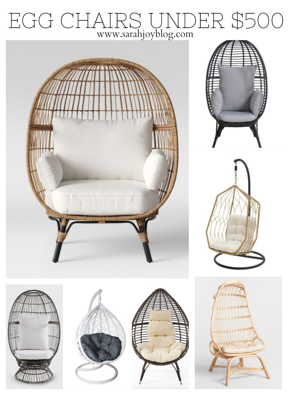 Egg Chairs under $500. Cute outdoor summer decor!