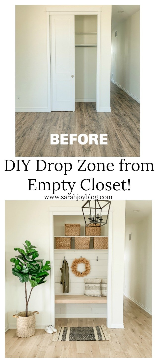 DIY Drop Zone from Empty Closet! Great idea to use transform an entry way closet into a cozy drop zone.