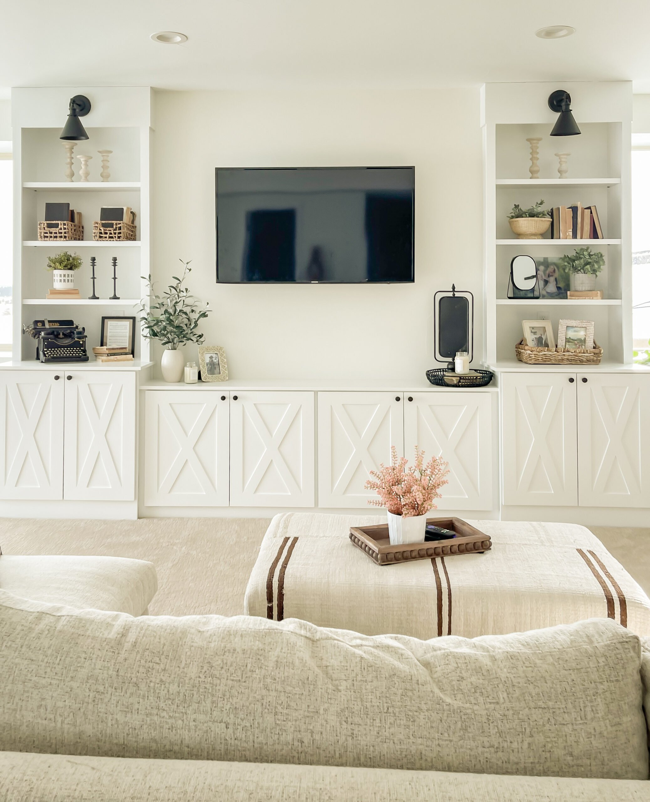 Styling the Media Wall Built-In. Shelf styling decor ideas!
