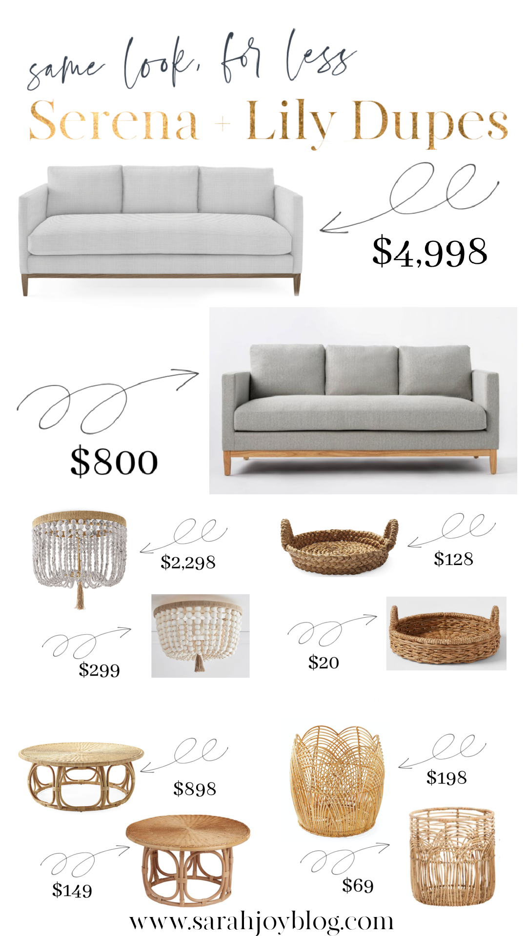 Serena and Lily Dupes! Furniture and decor dupes for Serena and Lily.